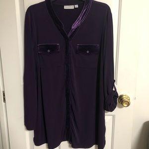 Susan Graver Purple Button Shirt Velvet 1X